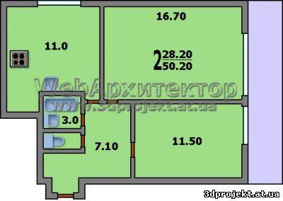 Перепланировка из 2-х комнатной в 3-х комнатную Дизайн